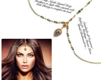 Gold silver sky blue Crystal Kundan Indian Jewelry Matha Patti Tikka Head Chain Bollywood Grecian Hijab Jewellery Bridal Hair Piece Wedding
