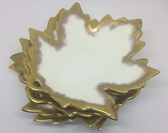 Vintage Gold Trim Bone China Leaf Nut/Mint Dishes by George Jones & Sons Crescent