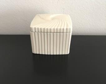 Vintage Avon Square Porcelain Trinket Box, Fluted Porcelain, Collectible,Avon, Art Deco,Ivory Color,Home Decor, Jewelry Box, Storage,Stripe