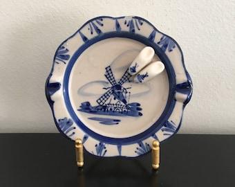 Vintage Delft Blue Ashtray, Holland, Clogs, Windmill, Dutch Blue, Blue And White, Souvenir,Dutch Windmill, Ashtray,Ceramic Dish,Trinket Dish