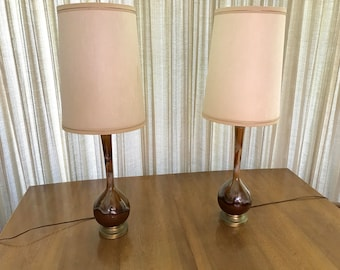 Pair of Mid Century Modern Lamps with original shades