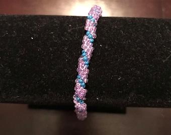 Lavender and blue spiral bracelet