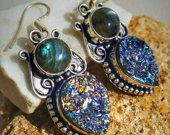 Labradorite and Titanium Druzy Sterling Silver Earrings