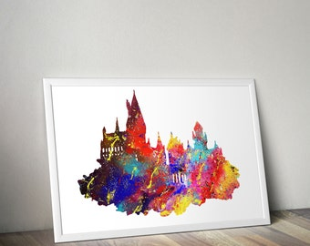 Harry Potter / Harry Potter Print / Hogwarts Castle / Large poster Sizes / Watercolor Print / Watercolor Poster / Hogwarts
