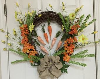 Easter wreath, spring wreath, orange carrots handmade