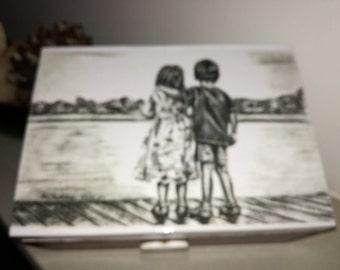 Black&White Wooden box- decoupage