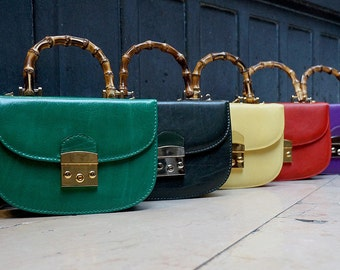 Genuine Leather Handbag / Purse with Bamboo Handle. 100% Genuine Leather. Made in Italy. Custom Colors Available. Size Small/Medium.