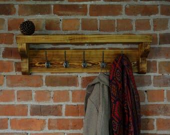 Extra chunky, solid wood coat rack and shelf with cast iron hooks and charred wood finish (Shou Sugi Ban)