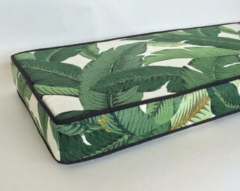 tropical designer outdoor bench cushion cover green white palm banana leaf zippered custom sized patio wt
