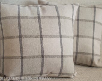 "Soft Grey/Natural Checks Cushion Cover. Super soft brushed cotton tartan style 17"" x 17"" Cushion Cover."