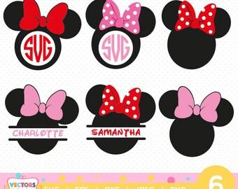 Minnie Mouse Monogram SVG, Minnie Mouse SVGs Monogram Font, SVG Files, Disney Baby Decoration Silhouette Cut Files, Cameo Cricut Cut Files