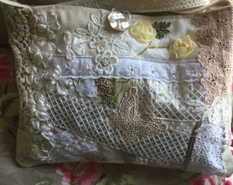 SALE was 35 now 20 !Cross body/messenger bag. silk ribbon embroidery crazy quilted