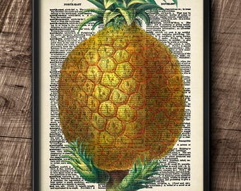 Pineapple · Instant Download · Dictionary · Vintage · Wall · Fruit · Printable · Digital File #107