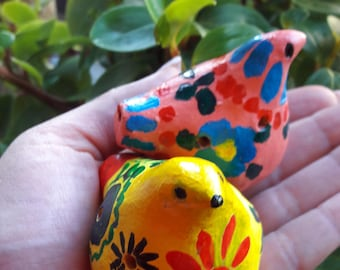 Clay Birds Whistle Clay Bird Whistle Clay Bird Flute Pink Bird Whistle Painted Ceramic Bird Yellow Bird Hand Paintedgifts for bird lovers