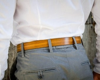 Unisex belt of wood and leather - hand made