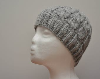 Cable Knit Had Handmade, Winter Hat Gray