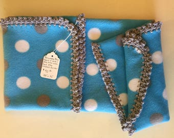 "Periwinkle Blue Fleece Baby Blanket w/ Gray Crochet Border - 38"" x 31"""