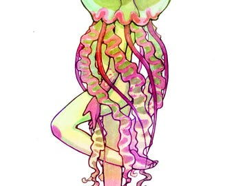Jellygirl 4x6 print, mermaid drawing, jellyfish art, pop surrealism, rainbow, candy colored, contemporary, pop illustration, gift for girl,