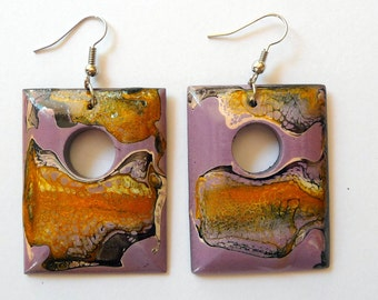 Painted wood Parmes monochrome and gold elegant and Chic earrings
