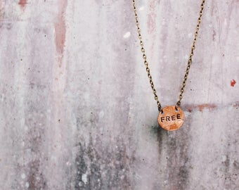 Copper Metal Stamped Coin Necklace Customizable