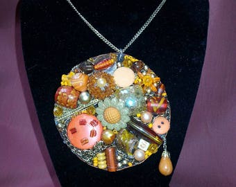 One Of A Kind Orange Shabby Chic Glam Junk Art Necklace