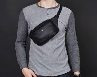 Belt pouch,Waist hip Bag,Pocket belt,Vegan Bum Bag,Hip Bag,Belt Bag,Vegan Fanny Pack,Waist Bag for Men,Black Waist Bag,Gift for Men