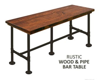 """Two 42"""" High Wood Bar Tables with Steel Pipe (2 Tables - Order for Tiffany)"""