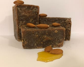 Honey Almond Handmade Soap Oatmeal Exfoliant Felted