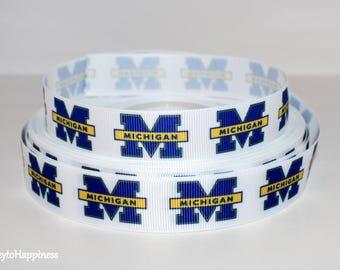 "University of Michigan 7/8"" Grosgrain Ribbon 165B"