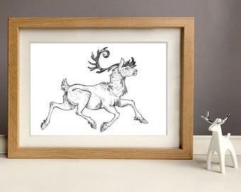 Floral Festive Ink Caribou Reindeer Illustration Art Print