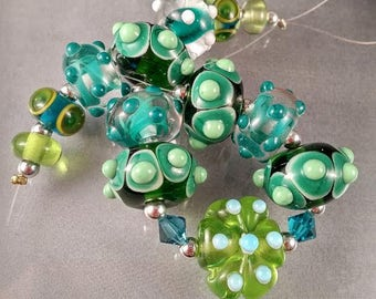 SPRING TIME GARDEN - Caliente Art Glass sra Lampwork Bead Set