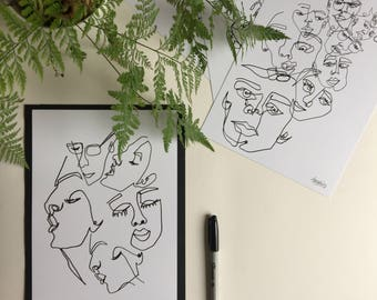 Rest Your Head - Original Print - Illustration - Portraiture - Simple Design - Faces - Blind Contour Drawing - Wall Hanging -Minimalist
