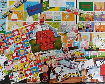 Vintage Snoopy Peanuts Comic Book Cartoons Retro Book Pages Scraps Grab Bag for Scrapbooking, Crafts, Junk Journalling, Decoupage, Collage