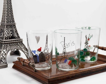 Glass hand painted Paris