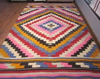 floor rug,home decor,kilim rug,rustic decor,turkish kilim rug,home living,handwoven kilim rug,decorative rug,vintage,8'8x5'9feet,