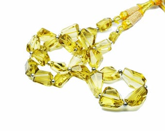 AAA Quality Champagne Quartz Nugget faceted\15.5 inch strand