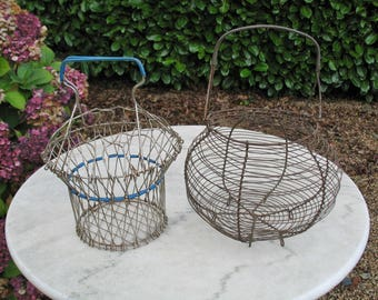 A Vintage French Wire Egg Basket And A Newer Wire  Salad Basket Will Look In A Farmhouse kitchen / Country Kitchen