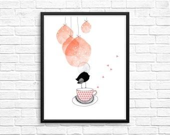 Cute Bird poster - Bird art - Bird print - Bird wall art - Nursery art - Nursery decor - Kids room decor - Children's art