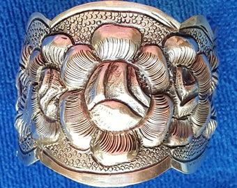 Vintage Sterling Sliver Flower Cuff Bracelet handmade 1968