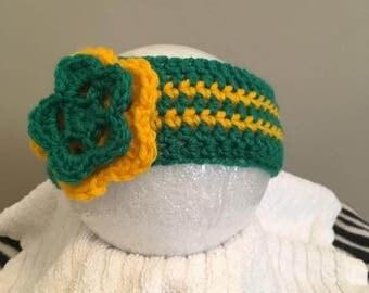 Newborn Crochet Headband, John Deere Princess, Baby Headband, Flower Headband, Green and Yellow, Baby Girl