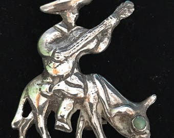 """Vintage Stamped """"Silver Mexico"""" Man w/Guitar Riding Donkey/Burro w/Turquiose Eye Brooch Pin"""