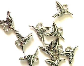 5 pcs hummingbird - colibrì - bird - birds Charms - Tibetan Silver Charms - Pendants