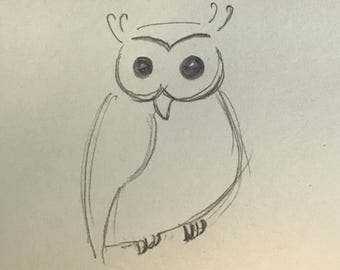 Owl Post-It Drawing - Small
