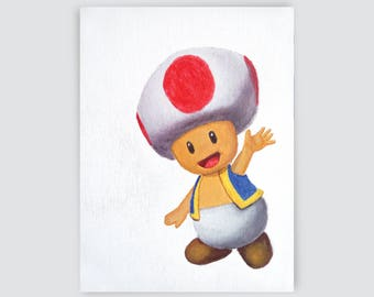 Toad, water colors, painting, Mario world