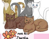 Hand drawn cats clipart set digital file in png and jpeg