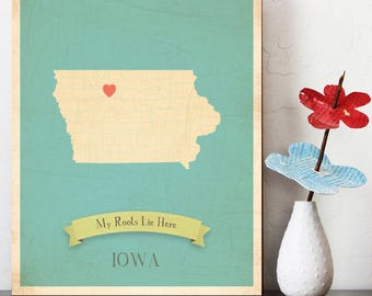 25% OFF Personalized Vintage Map Wall Art 11x14- Choose Your State – Iowa, State Map