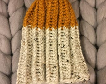 Chunky Knit Color Dipped Ribbed Hat