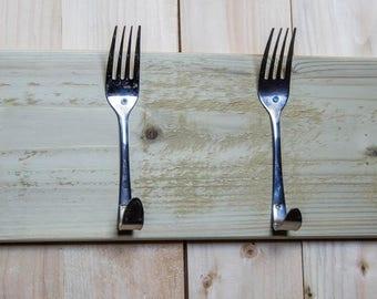 Stainless steel spoon & fork coat hooks