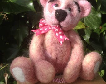 Needle felted Bear, EGGMO Bear, Needle Felted animal
