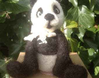 Needle felted Panda,EGGMO PANDA,Needle Felted animal.